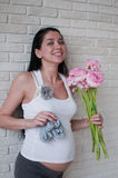 blommar gravid kvinna Royaltyfria Foton