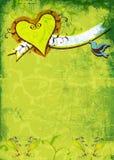 blommar grungehjärta stock illustrationer