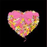 blommar hjärtavykortet Royaltyfri Foto