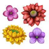 Blommar illustrationen för gemkonst, designbeståndsdelar som isoleras på vit bakgrund vektor illustrationer