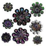 blommar kristallen isolerade neonsnowflaken Royaltyfria Bilder