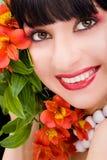 blommar kvinnabarn Fotografering för Bildbyråer