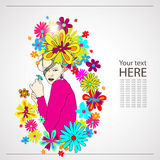 blommar kvinnan Stock Illustrationer
