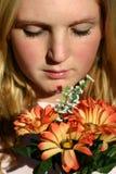 blommar kvinnan Arkivbild