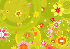 blommar många vektorn stock illustrationer