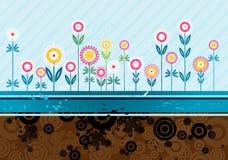 blommar många vektorn royaltyfri illustrationer