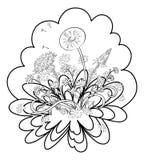 Blommar maskrosor med sidor, konturer Royaltyfri Foto