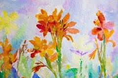 Blommar orange färg för vattenfärgmålninglandskapet av den Canna liljan Fotografering för Bildbyråer