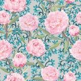 blommar pionpink Blom- upprepande asiatisk modell för tappning, orientalisk dekorativ dekor vattenfärg Arkivfoto