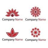 blommar röda logoer Royaltyfria Bilder
