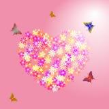 blommar rosa hjärta som göras Fotografering för Bildbyråer