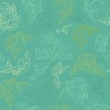 Blommar sömlös textur för vektorn med krullat abstrakt begrepp beståndsdelar Royaltyfria Foton