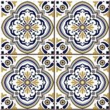 Blommar sömlösa väggtegelplattor för tappning av gulingblåttspiralen, marockanskt, portugis stock illustrationer