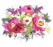 Blommar vattenfärgillustrationen Royaltyfria Bilder