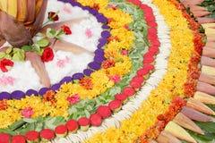 BlommaRangoli design, indisk rangoli arkivbild