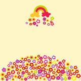 Blommaregnbågebakgrund. Vektorillustration. stock illustrationer