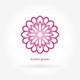 Blommarosa färglogo Stiliserad rosblommalogotyp Enkelt cirkulär Arkivfoto
