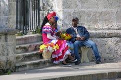 Blommasäljare i Havan, Kuba Royaltyfria Bilder