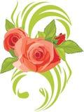 Blommas rosa ro. Dekorativt element royaltyfri illustrationer