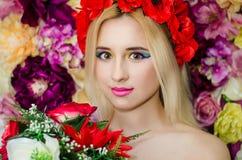 Blommaskönhetflickor Royaltyfria Foton