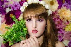 Blommaskönhetflickor Royaltyfria Bilder