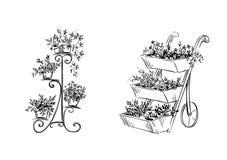 Blommaställningar också vektor för coreldrawillustration royaltyfri illustrationer