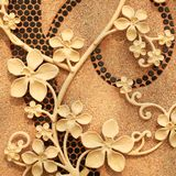 blommastuckaturvägg royaltyfri bild