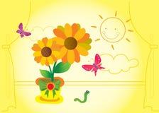blommasun Vektor Illustrationer