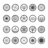 Blommasymboler i en rund form Enkel linje stil-vektor vektor illustrationer