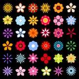 Blommasymboler som isoleras på svart bakgrundssamling Arkivbild