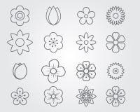Blommasymbolslinje uppsättning royaltyfri illustrationer