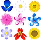 blommasymbolsset stock illustrationer