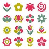 Blommasymbolsuppsättning stock illustrationer