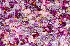 Blommatexturbakgrund för att gifta sig plats Rosor, pioner och vanliga hortensior, konstgjorda blommor på väggen Royaltyfri Bild