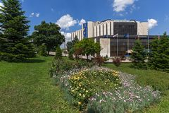 Blommaträdgård och medborgareslott av kultur i Sofia, Bulgarien arkivfoto