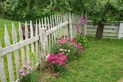 Blommaträdgård på Johnson Farm på maxima av uttern Arkivfoto