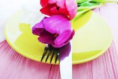 Blommatulpan som blommar härligt dekorativt för platta på en rosa träromantisk bakgrund, födelsedag arkivbild