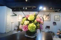 Blommautställning för hem- inredning arkivbild