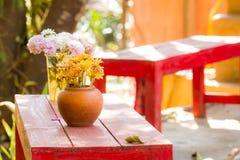 Blommavas i trädgård arkivbild