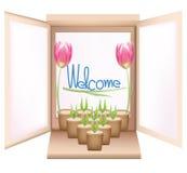 blommavasefönster Arkivfoton