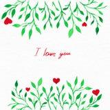 Blommavattenfärg Kort med sidor för vattenfärg Vid St-valentin Royaltyfria Bilder
