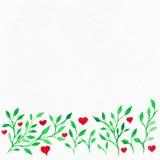 Blommavattenfärg Kort med sidor för vattenfärg Vid St-valentin Arkivbilder
