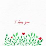 Blommavattenfärg Kort med sidor för vattenfärg Vid St-valentin Royaltyfri Bild