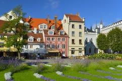 Blommig Livu fyrkant i mitten av gamla Riga Arkivbilder