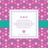 Blommigt rosa hälsningkort Arkivbild