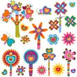 blommor älskar retro stock illustrationer