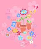 blommor arbeta i trädgården seamless modellupprepning Arkivfoton