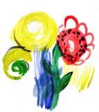 Blommor Barns vattenfärg Royaltyfria Bilder