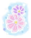Blommor bevattnar färgar utformar målning Arkivbild