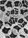 Blommor blad i cirklar också vektor för coreldrawillustration Vektor EPS 10 Meditativ övning Anti-spänning för färgläggningbok fö Royaltyfri Bild